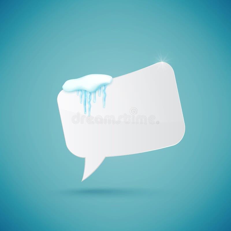 Пузырь речи украшенный с реалистическими снегом и сосульками Шаблон дизайна для веселого рождества вектор иллюстрация вектора