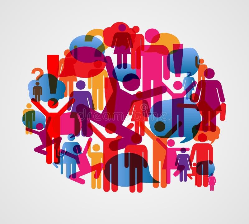 Пузырь социальных людей говоря иллюстрация штока