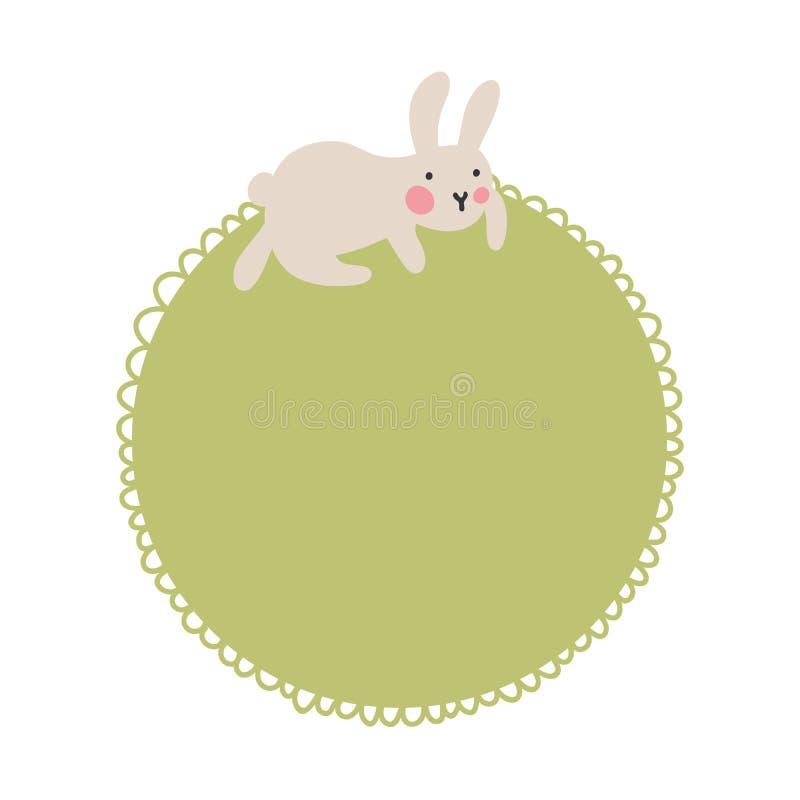 Пузырь текста со смешным зайчиком который сидит на рамке для текста Иллюстрация питомника вектора Мягкие зеленые пастельные цвета иллюстрация штока