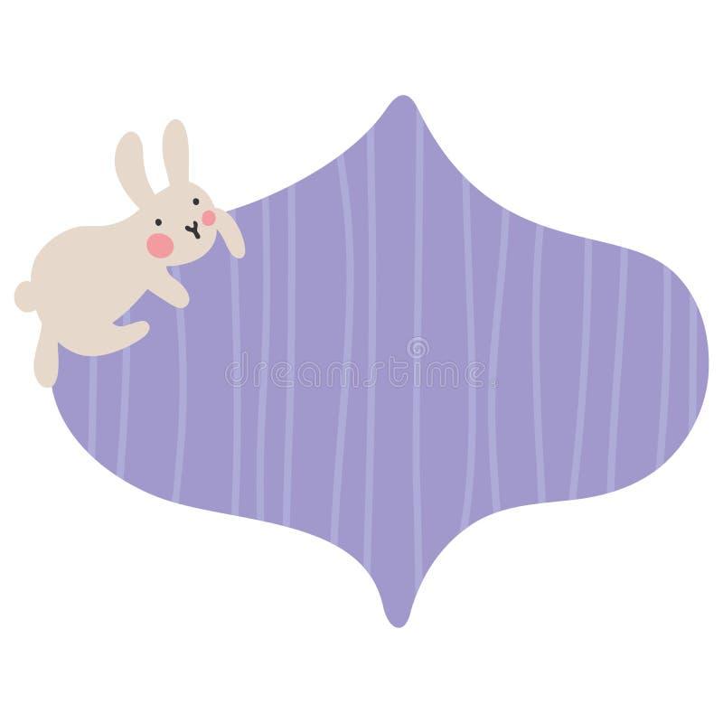 Пузырь текста со смешным зайчиком который сидит на striped рамке для текста Иллюстрация питомника вектора бесплатная иллюстрация