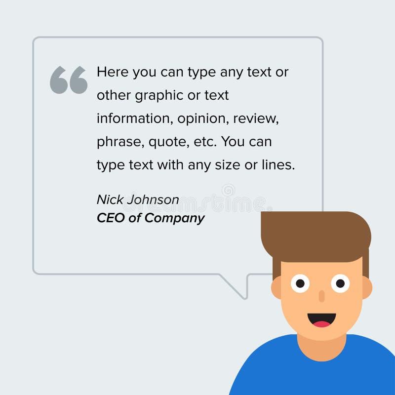 Пузырь текста цитаты квадрата речи вектора с характером Дизайн шаблона, творческое представление, дело infographic иллюстрация вектора