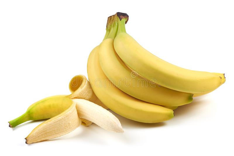 Пук бананов, конец-вверх, изолированный на белой предпосылке стоковое изображение