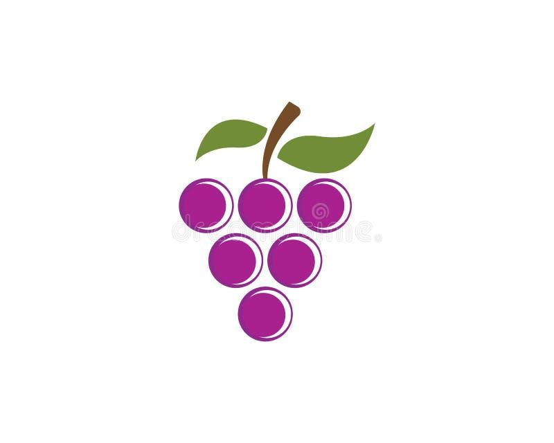 Пук виноградин вина с значком лист бесплатная иллюстрация