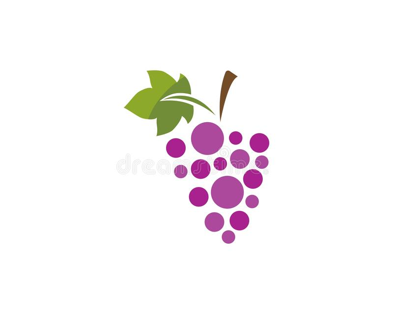 Пук виноградин вина с значком лист иллюстрация вектора
