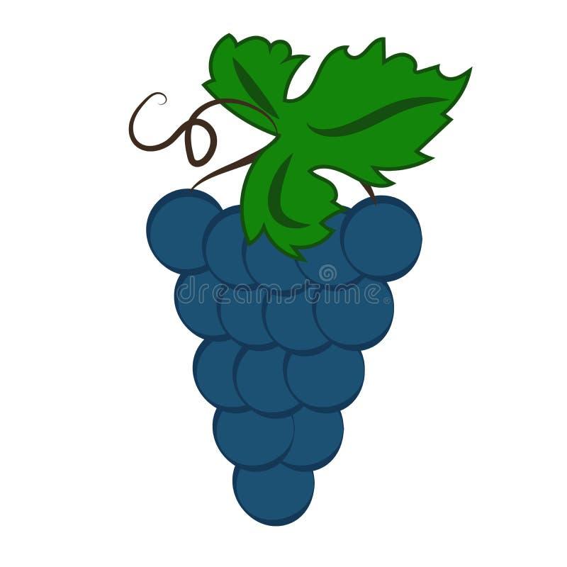Пук виноградин вина с значком цвета лист плоским для apps и вебсайтов еды иллюстрация штока