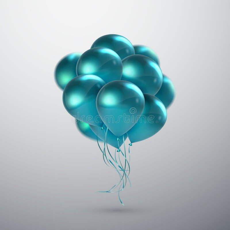 Пук воздушного шара бирюзы иллюстрация штока