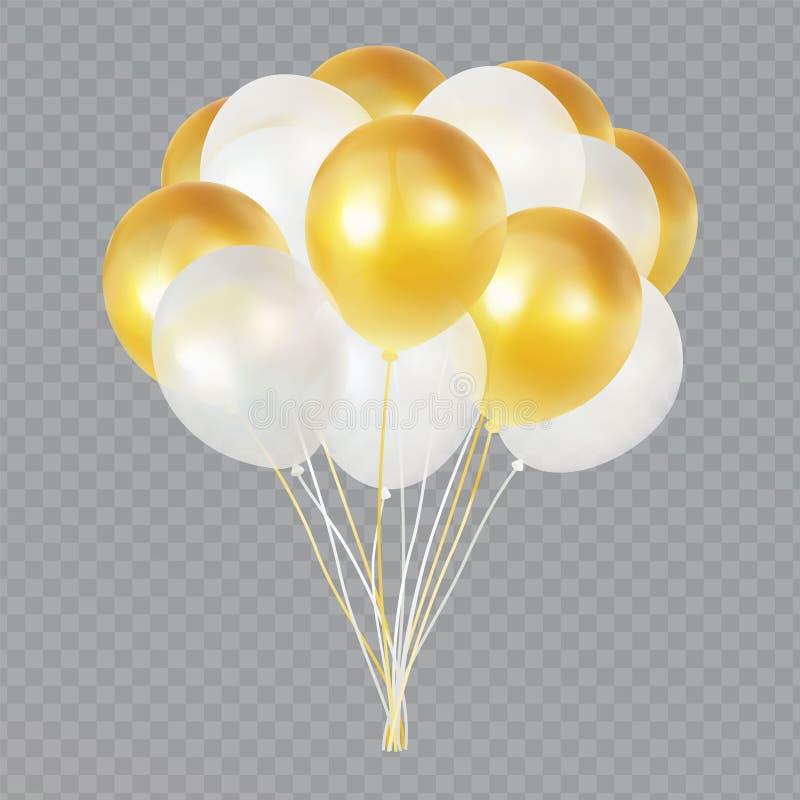 Пук гелия воздушного шара изолированный на прозрачной предпосылке Реалистическое золото и белая группа баллона с прозрачностью иллюстрация штока