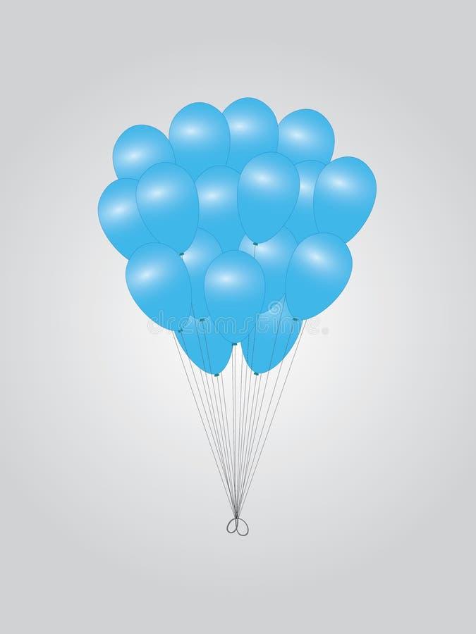 Пук голубого вектора воздушных шаров иллюстрация вектора