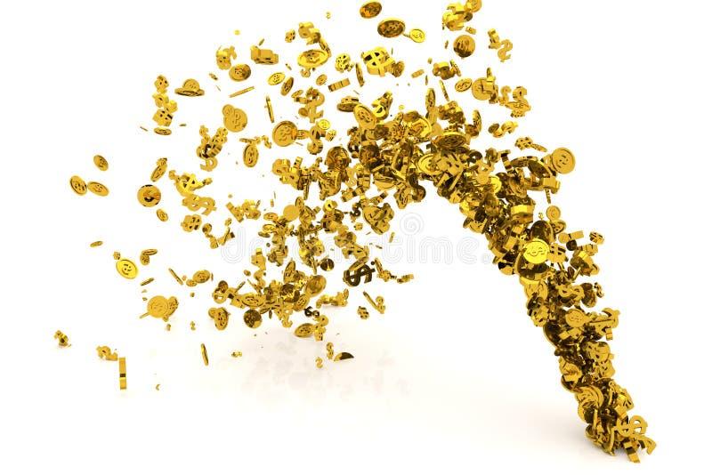 Пук денег, золото, знак доллара или монетки пропускают от пола, современной предпосылки стиля или текстуры бесплатная иллюстрация