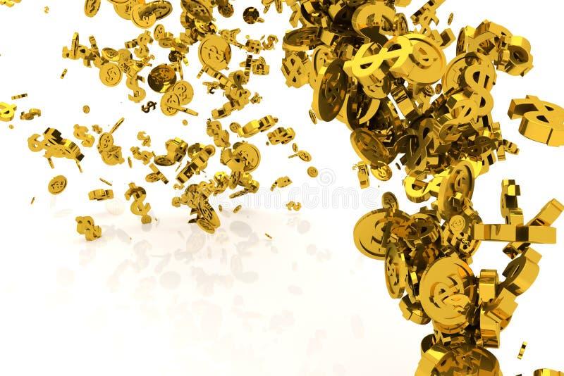 Пук денег, золото, знак доллара или монетки пропускают от пола, современной предпосылки стиля или текстуры Холст, дизайн, цифрово бесплатная иллюстрация