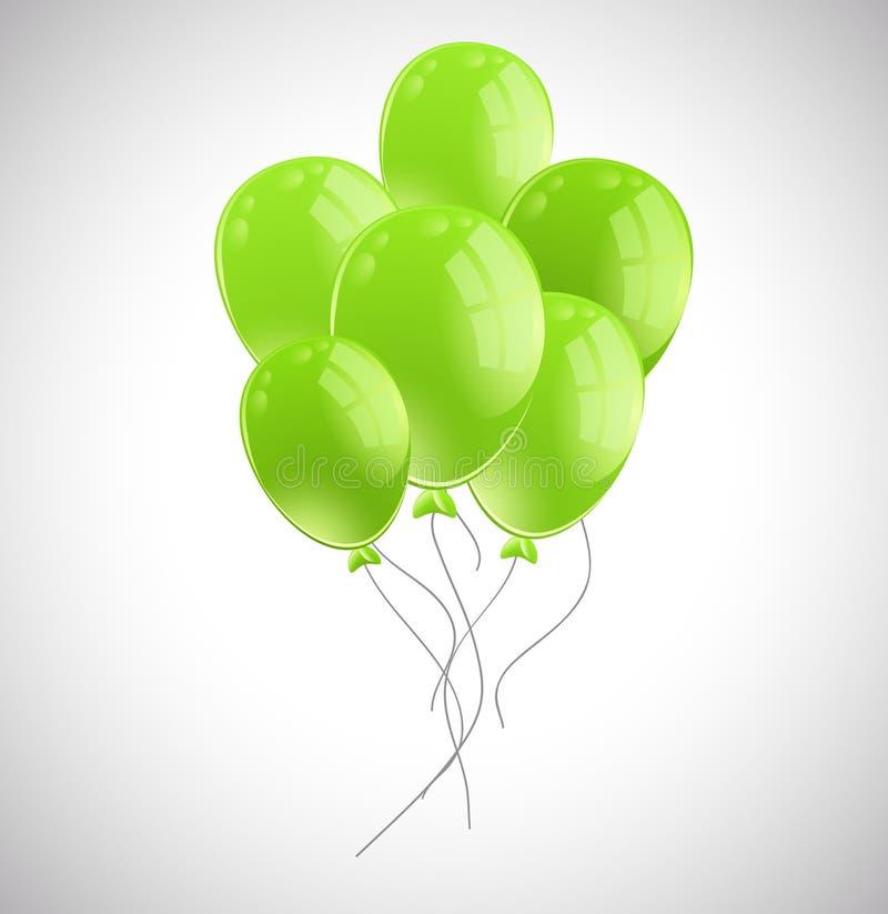 Пук зеленых воздушных шаров иллюстрация вектора