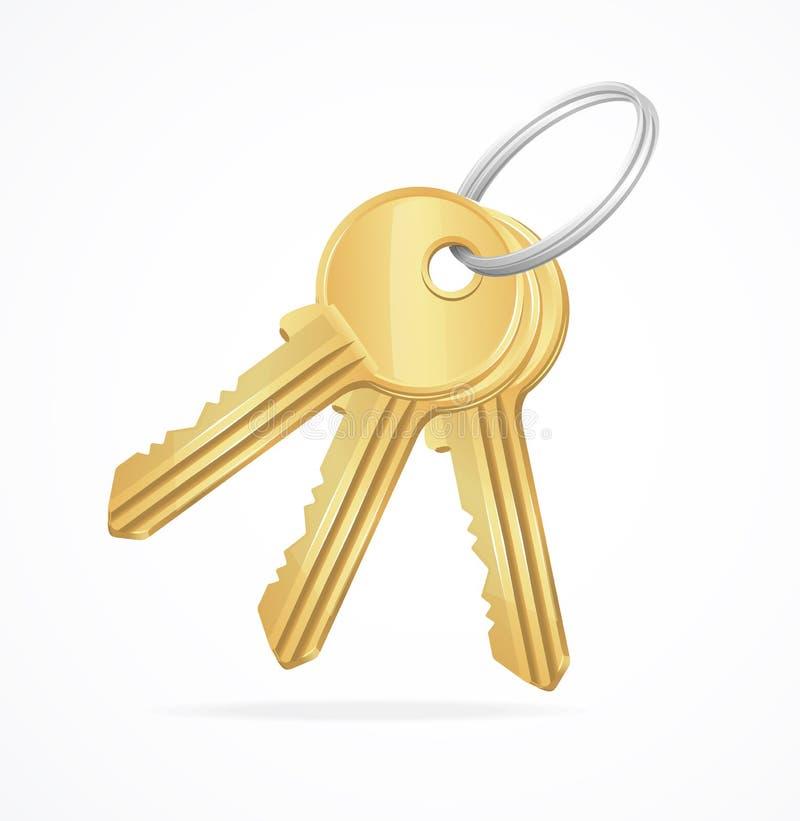 Пук золотых ключей вектора иллюстрация штока