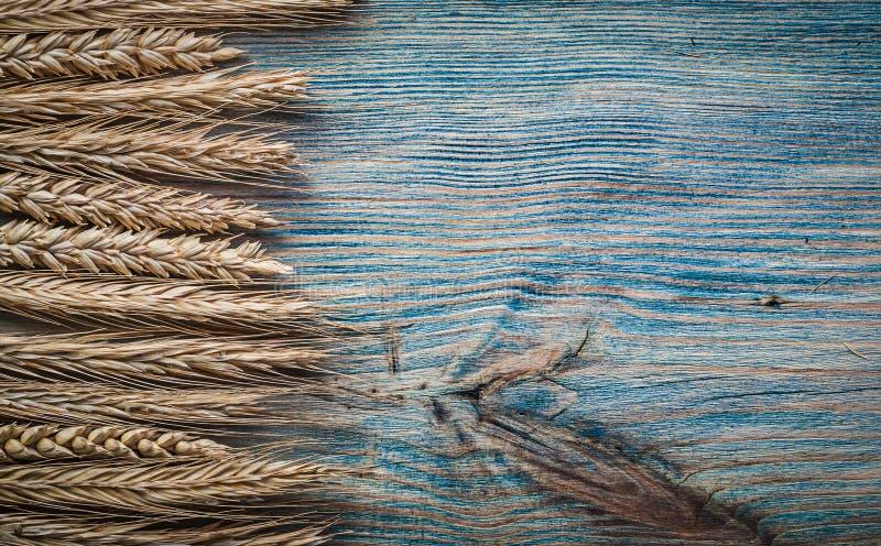 Пук золотых ушей рож пшеницы на винтажном деревянном космосе экземпляра доски стоковая фотография rf