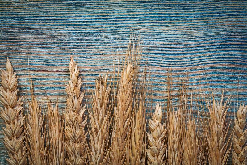 Пук золотых ушей рож пшеницы на деревянной еде и питье доски conc стоковое фото