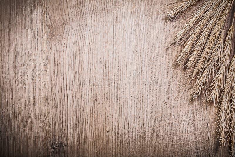 Пук золотых ушей рож пшеницы на еде деревянной доски и питье co стоковые фото