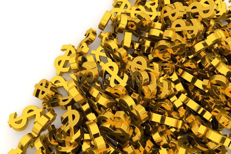 Пук или куча иллюстративного знака золотого доллара, предпосылки изолированной на белизне Творческий, дело, иллюстрация & цифрово иллюстрация штока