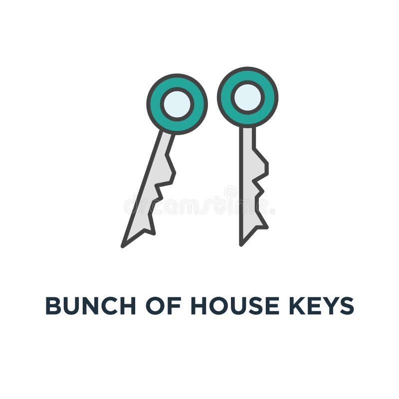 пук ключей дома для запирать и открывать двери, значок доступа безопасный дизайн символа концепции, замок, защита, решение или иллюстрация вектора