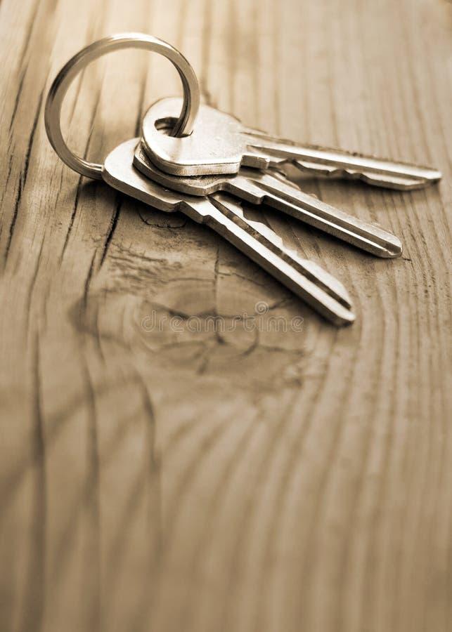 Пук ключей лежа на треснутом классн классном с хворостиной стоковые фото