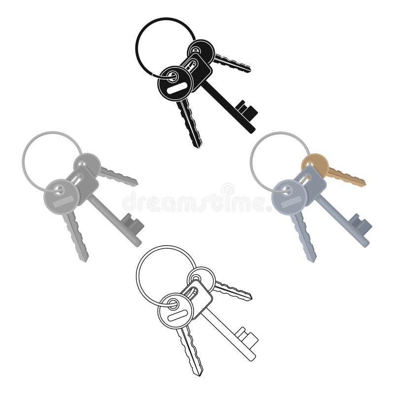 Пук ключей от клеток в тюрьме Ключи для раскрывая преступников Значок тюрьмы одиночный в мультфильме, черном стиле бесплатная иллюстрация