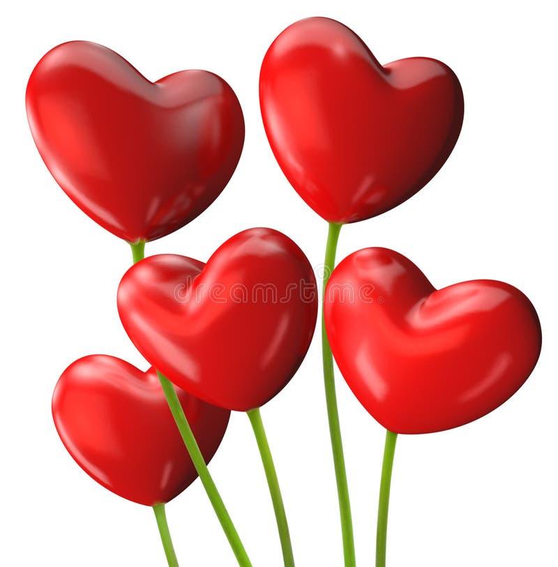 Пук красного сердца сформировал цветки на день валентинки иллюстрация вектора