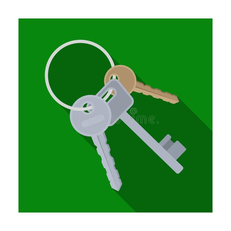 Пук ключей от клеток в тюрьме Ключи для раскрывая преступников Значок тюрьмы одиночный в плоском символе вектора стиля иллюстрация вектора