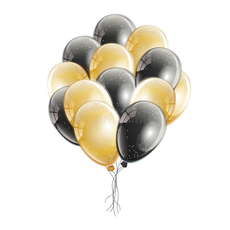 Пук реалистического гелия черноты и золота раздувает иллюстрация вектора