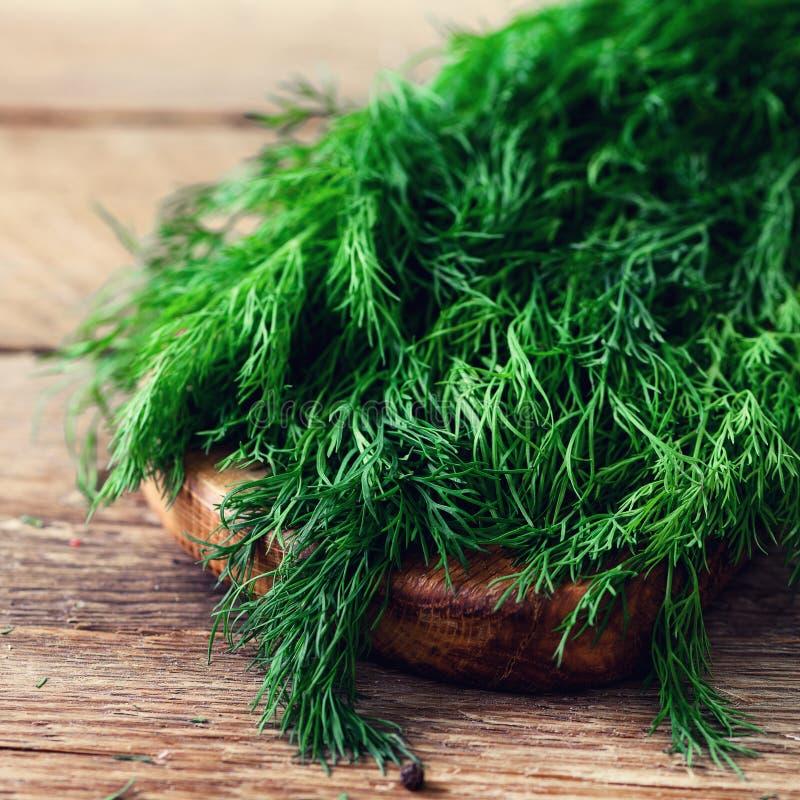 Пук свежего органического укропа на деревянной предпосылке с стилем copyspace, деревенского и винтажного, селективным фокусом стоковое фото