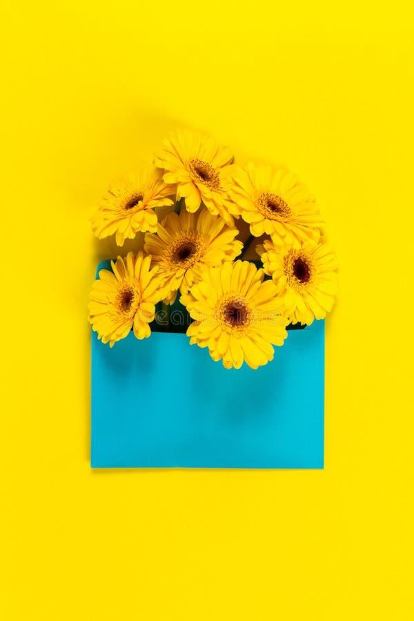 Пук свежих красивых желтых gerbers в голубом конверте дальше выкрикивает стоковая фотография