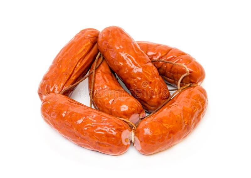 Пук сосисок мяса изолированных на белой предпосылке стоковая фотография rf