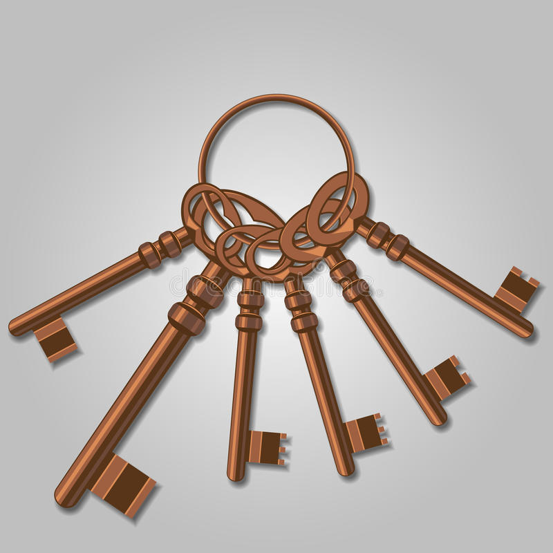 Пук старых ключей. иллюстрация вектора