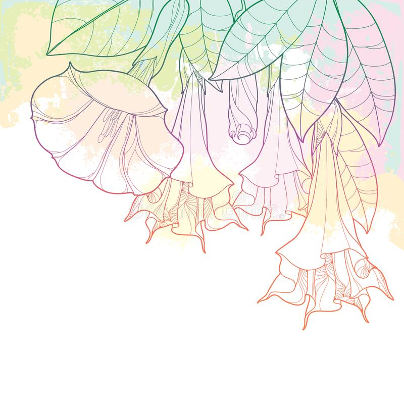 Пук угла вектора с ангелами раззванивает цветок плана, бутон и богато украшенные листья в пастельные оранжевом и розовый на текст иллюстрация штока
