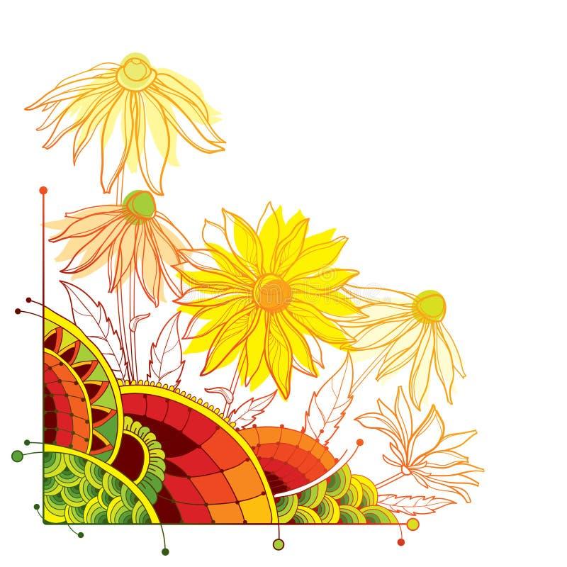 Пук угла вектора с hirta Rudbeckia плана или черно-наблюданным цветком Сьюзан, богато украшенными лист и бутоном в желтом и пасте иллюстрация вектора