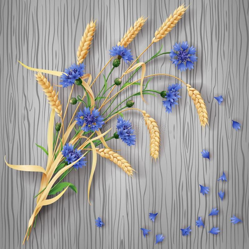 Пук Cornflowers и ушей пшеницы на деревянной предпосылке иллюстрация вектора