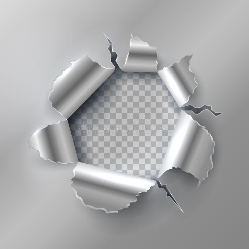 Пулевое отверстие в металле Раскрывать с сорванными стальными краями Иллюстрация вектора на прозрачной предпосылке иллюстрация вектора