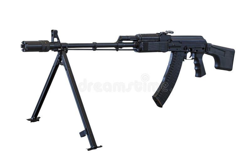 Пулемет автомата Калашниковаа RPK на bipod изолированном на белой предпосылке стоковое изображение rf