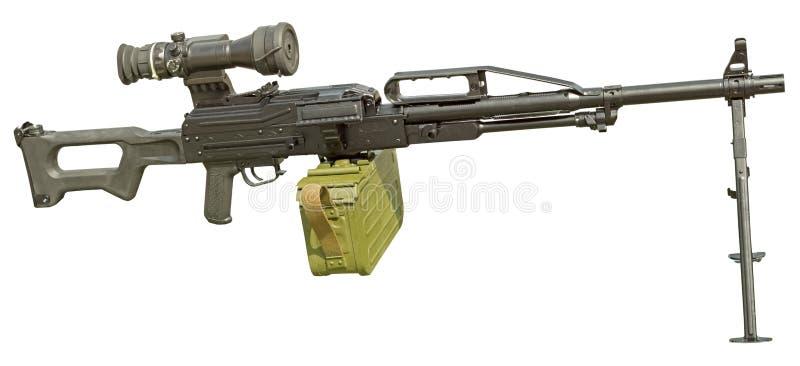 Пулемет с оптическим объемом на белизне стоковые изображения