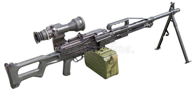 Пулемет с оптическим объемом на белизне стоковые изображения rf