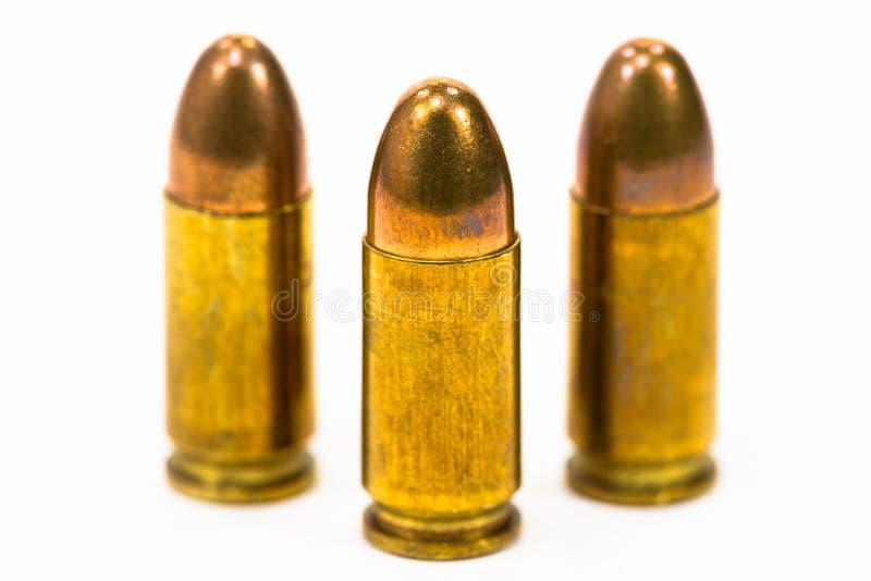 Пули были помещены на белом поле стоковые изображения rf