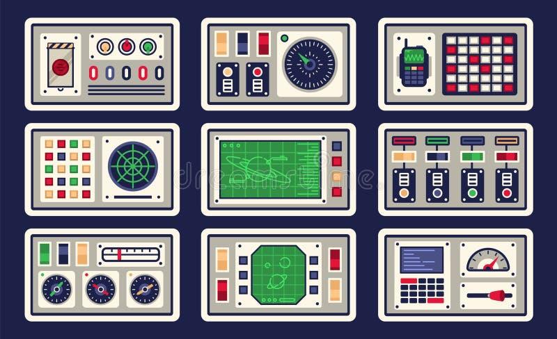 Пульт управления в космическом корабле со всеми видами контролей иллюстрация штока
