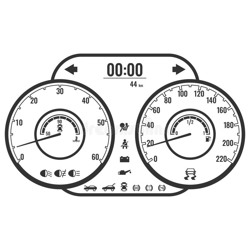 Пульт управления или фасция аппаратуры приборной панели в простом дизайне стиля бесплатная иллюстрация