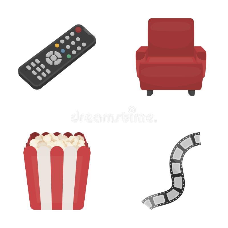 Пульт управления, кресло для осматривать, попкорн Значки собрания комплекта фильмов и кино в шарже вводят символ в моду вектора иллюстрация штока