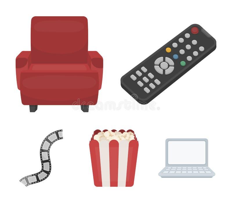Пульт управления, кресло для осматривать, попкорн Значки собрания комплекта фильмов и кино в шарже вводят символ в моду вектора иллюстрация вектора