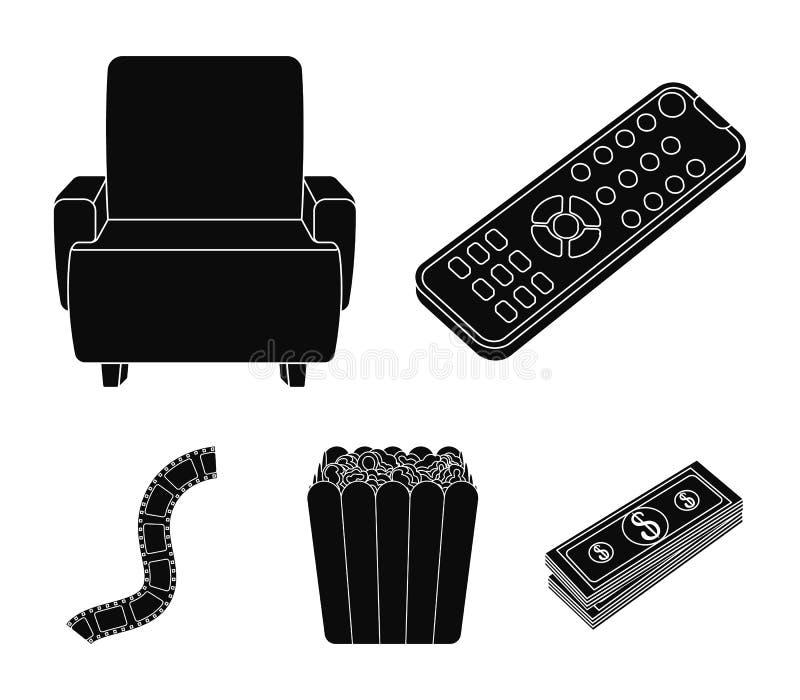 Пульт управления, кресло для осматривать, попкорн Значки собрания комплекта фильмов и кино в черном стиле vector запас символа бесплатная иллюстрация