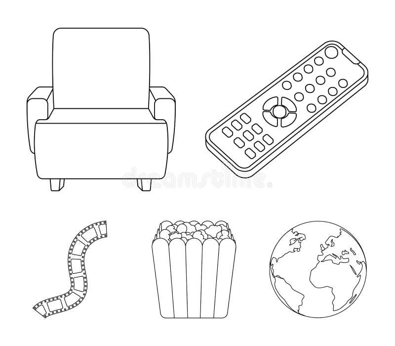 Пульт управления, кресло для осматривать, попкорн Значки собрания комплекта фильмов и кино в плане вводят символ в моду вектора иллюстрация вектора