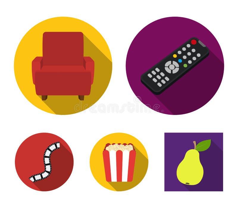 Пульт управления, кресло для осматривать, попкорн Значки собрания комплекта фильмов и кино в плоском стиле vector запас символа иллюстрация штока