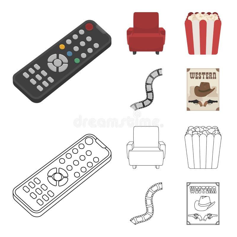 Пульт управления, кресло для осматривать, попкорн Значки собрания комплекта фильмов и кино в шарже, векторе стиля плана иллюстрация вектора