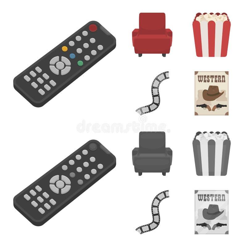 Пульт управления, кресло для осматривать, попкорн Значки собрания комплекта фильмов и кино в шарже, monochrome векторе стиля бесплатная иллюстрация