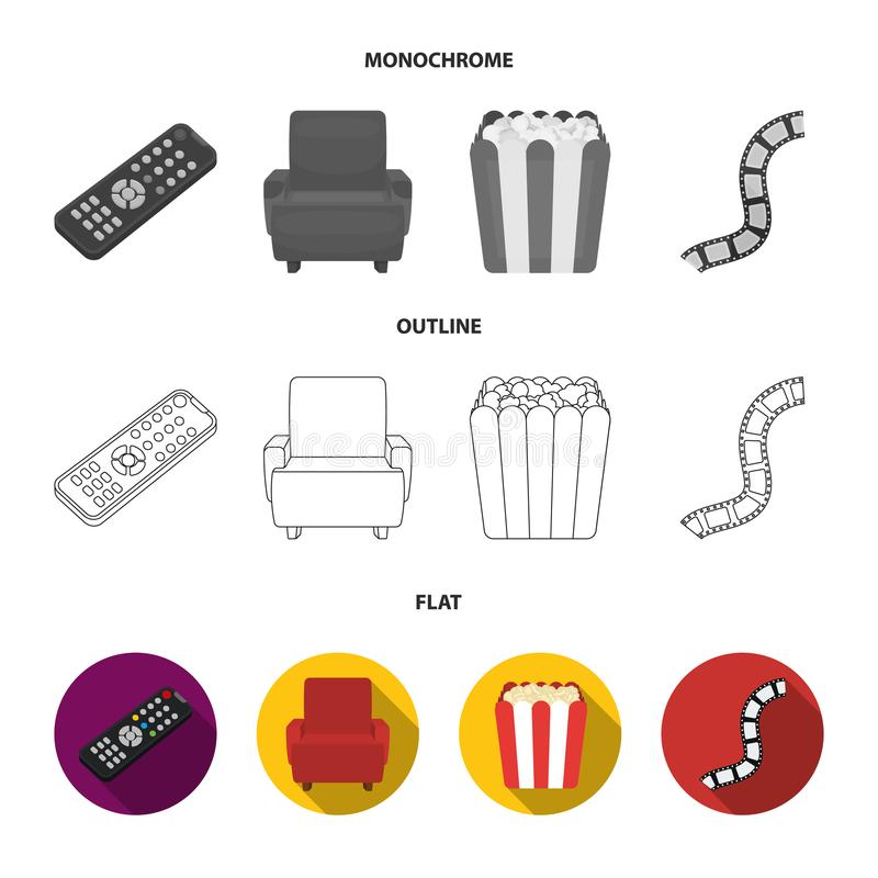 Пульт управления, кресло для осматривать, попкорн Значки собрания комплекта фильмов и кино в квартире, плане, monochrome стиле иллюстрация штока