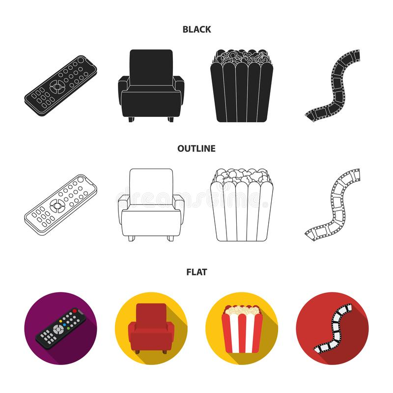 Пульт управления, кресло для осматривать, попкорн Значки собрания комплекта фильмов и кино в черной, плоский, вектор стиля плана иллюстрация вектора