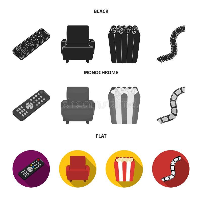Пульт управления, кресло для осматривать, попкорн Значки собрания комплекта фильмов и кино в черном, плоском, monochrome стиле бесплатная иллюстрация